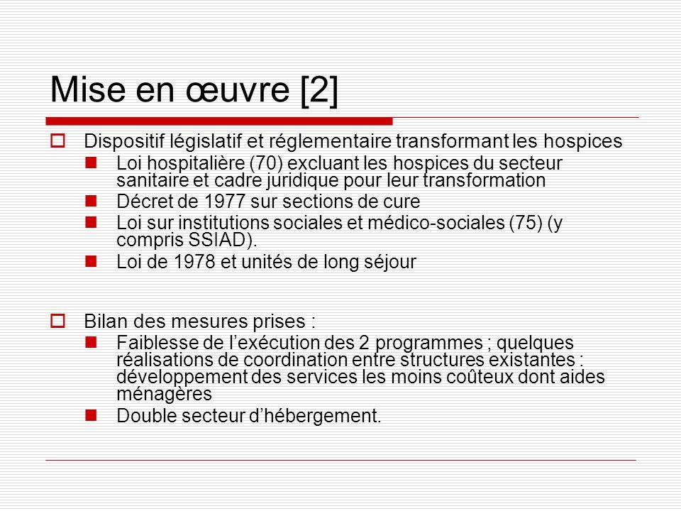 Mise en œuvre [2]Dispositif législatif et réglementaire transformant les hospices.